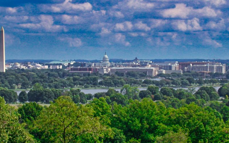 Washington DC skyline as seen from Arlington, Virginia