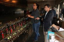 Rep. Quigley learns how to operate the 1930s switching system at Metra's A-2 Tower.