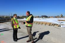 Rep. Quigley discusses Mannheim Road expansion project on site with Anthony Quigley, IDOT Project Implementation Engineer.