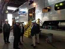 Rep. Quigley (center) tours Metra's 49th Street Amerail Overhaul Project.