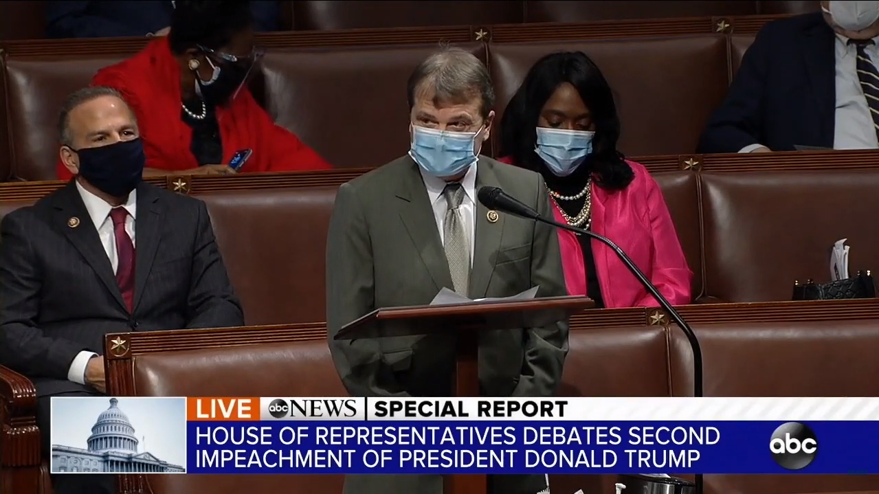 Rep. Mike Quigley speaks from the floor of the House of Representatives during impeachment debate